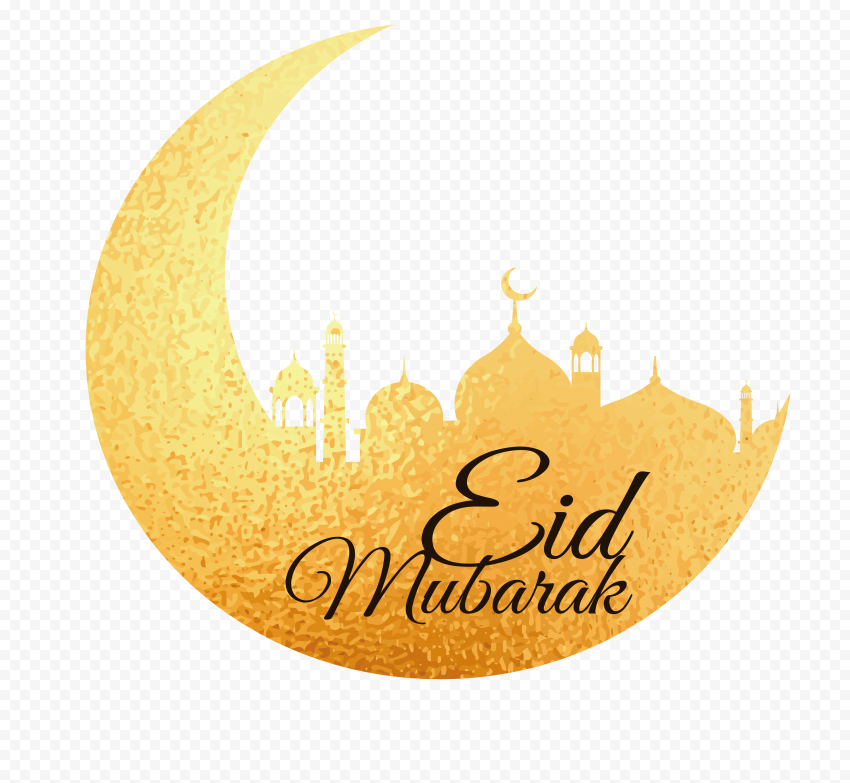 Gold Eid Mubarak Moon Mosque Design English