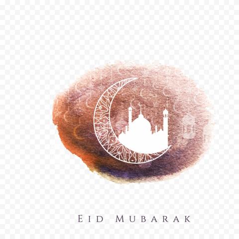 Watercolor Eid Mubarak Mosque Moon Design