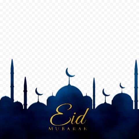 Gold Text Eid Mubarak Blue Background Mosque