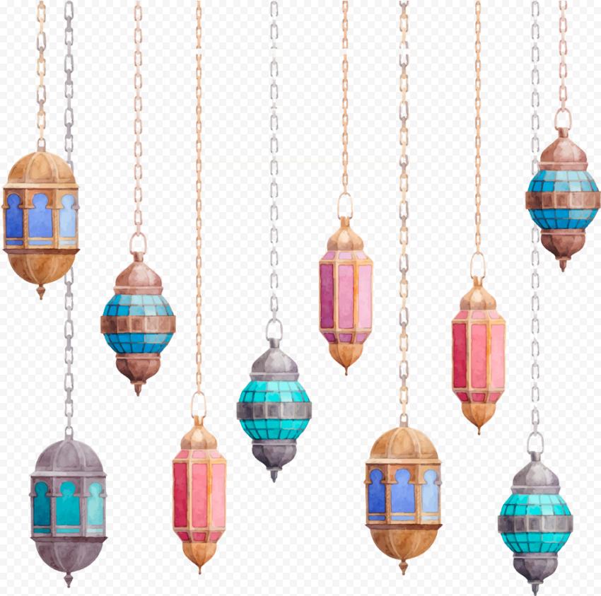 Beautiful Ramadan Hanging Lanterns Watercolor