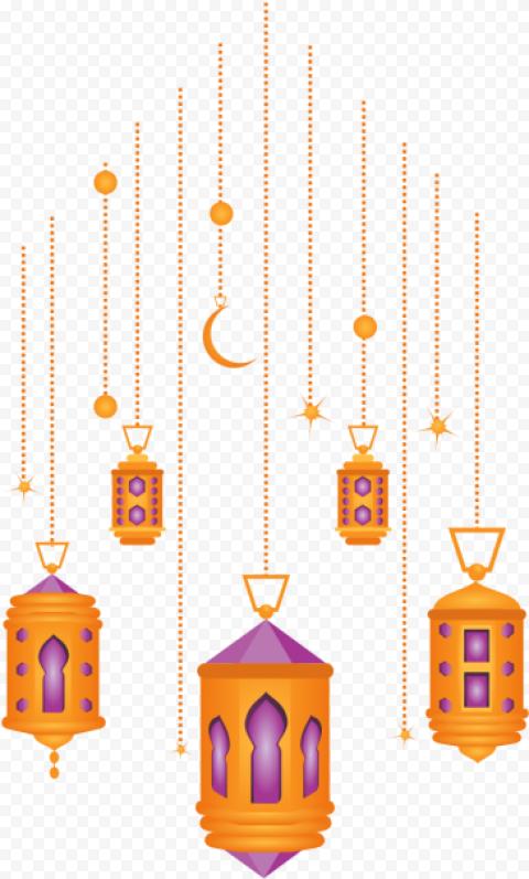 Hanging Ramadan Illustration Lanterns Decoration