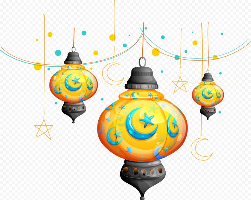 Creative Hanging Lanterns Cartoon Illustration