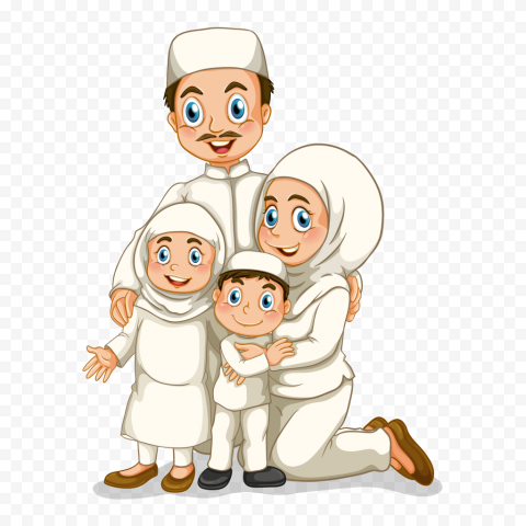 Cartoon Happy Muslim Family Illustration Ramadan