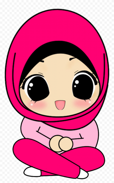 Muslim Hijab Girl Child Cartoon Character