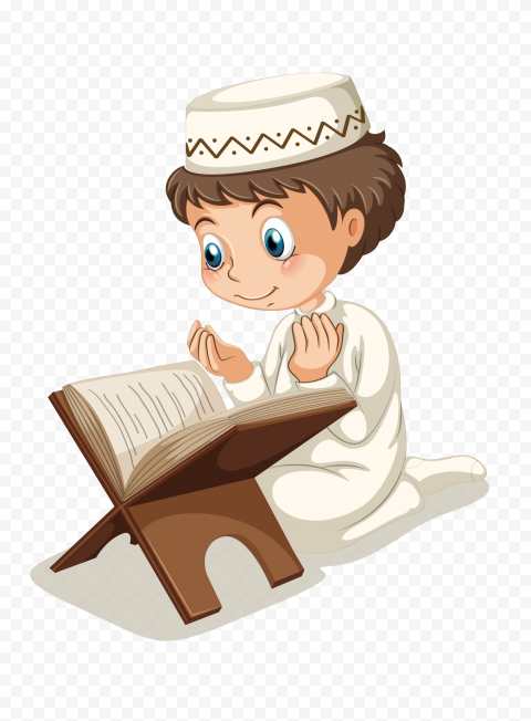 Muslim Child Boy Read Quran Doua كرتون طفل مسلم