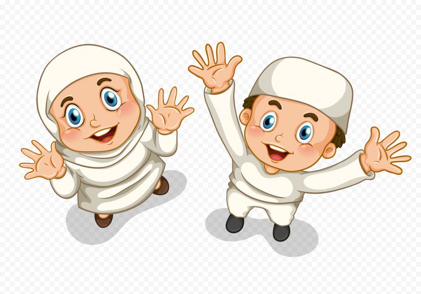 Happy Muslim Boy And Girl With Hijab Illustration