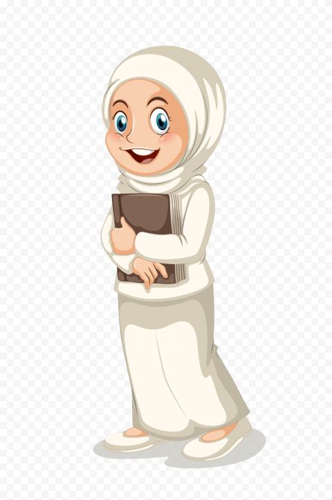 Standing Muslim Hijab Girl Child Cartoon Character
