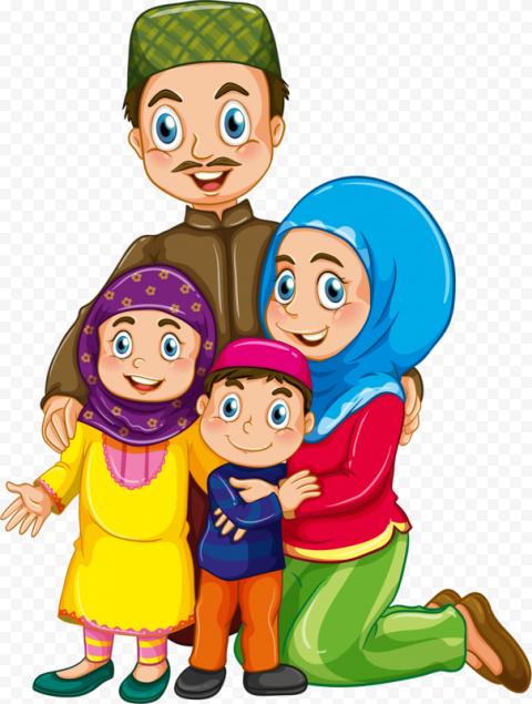 Happy Cartoon Muslim Family Illustration Eid Said