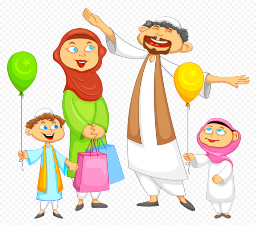 Happy Cartoon Muslim Family Eid Mubarak Characters