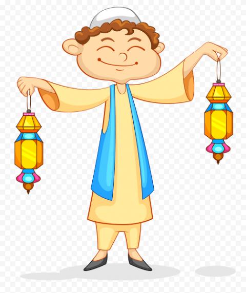 Happy Muslim Boy Hold Two Lanterns Cartoon