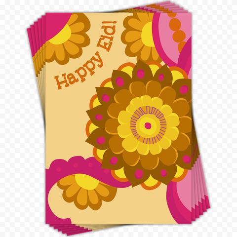 English Eid Mubarak Flower Greetings Card Design