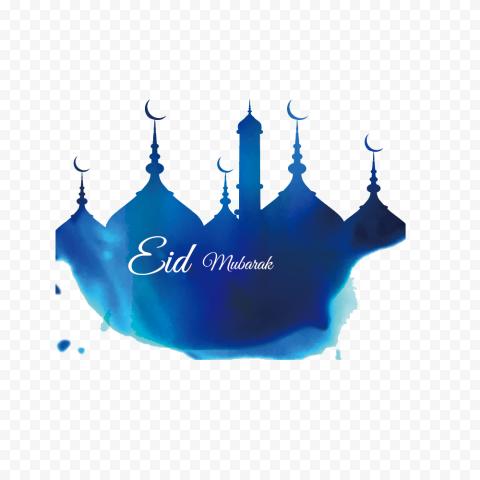 Blue Mosque English Eid Mubarak Design