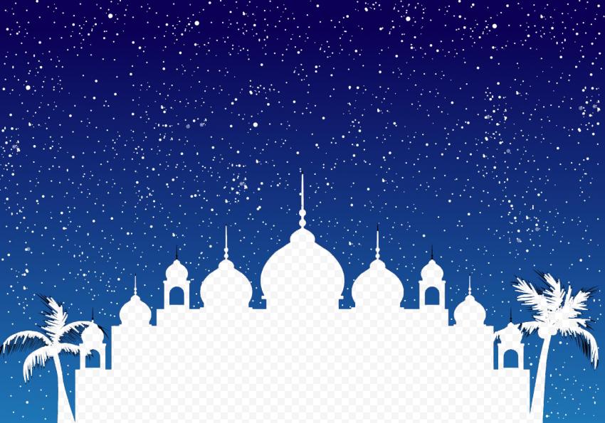 Blue Sky Islamic Background Mosque Palms Ramadan