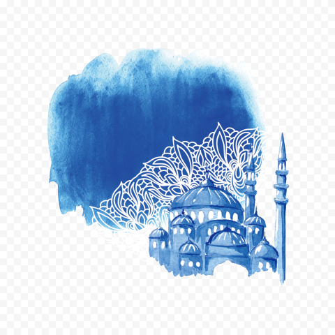 Blue Watercolor Mosque Islamic Background