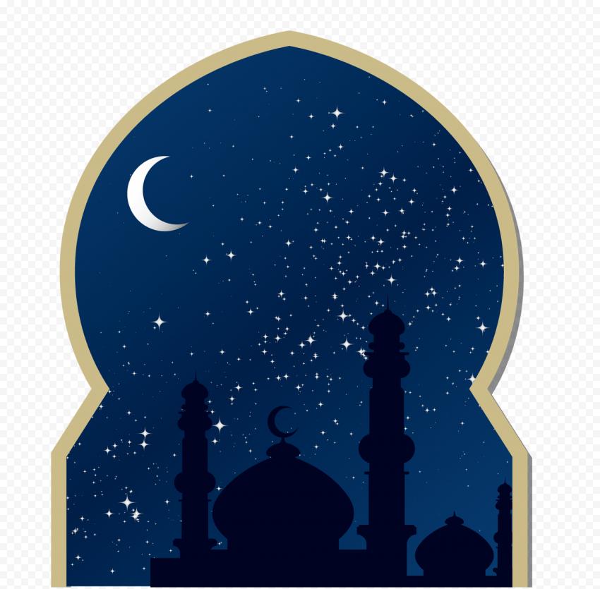 Islamic Door Mosque Moon Blue Sky Background
