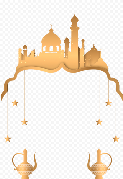 Gold Mosque Hanging Stars Islamic Illustration
