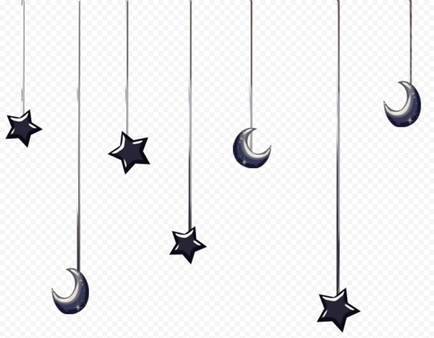 Hanging Stars And Moon Black Ramadan Decoration