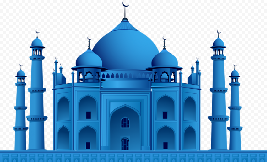 Blue Taj Mahal Mosque Illustration Icon