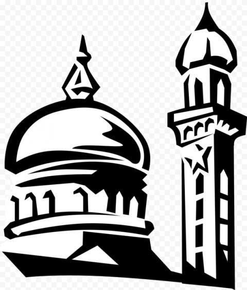Black Drawing Islamic Mosque Masjid Icon