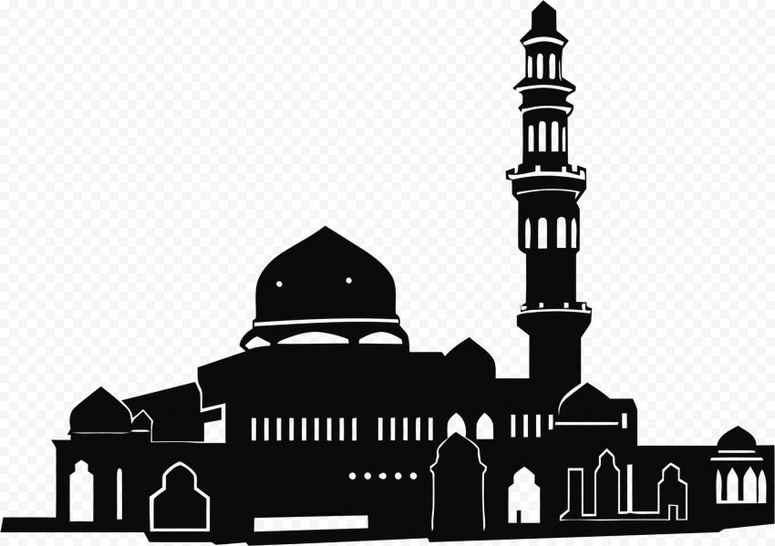 Islamic Black Silhouette Masjid Mosque Vector