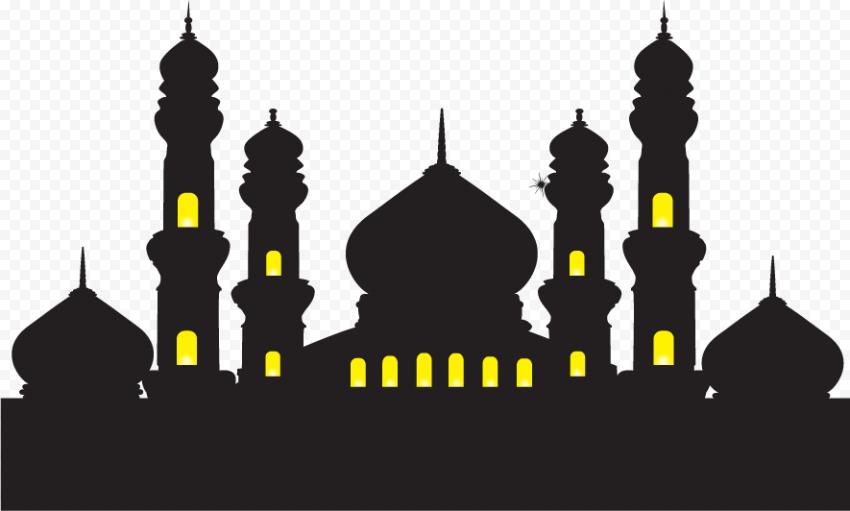 Black Silhouette Masjid Mosque Window Yellow Light