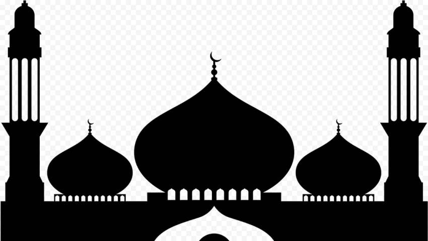 Arabic Islamic Black Silhouette Masjid Mosque