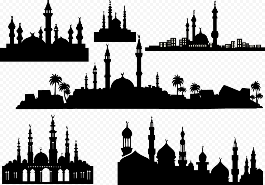 Set Of Islamic Mosque Masjid Black Silhouette