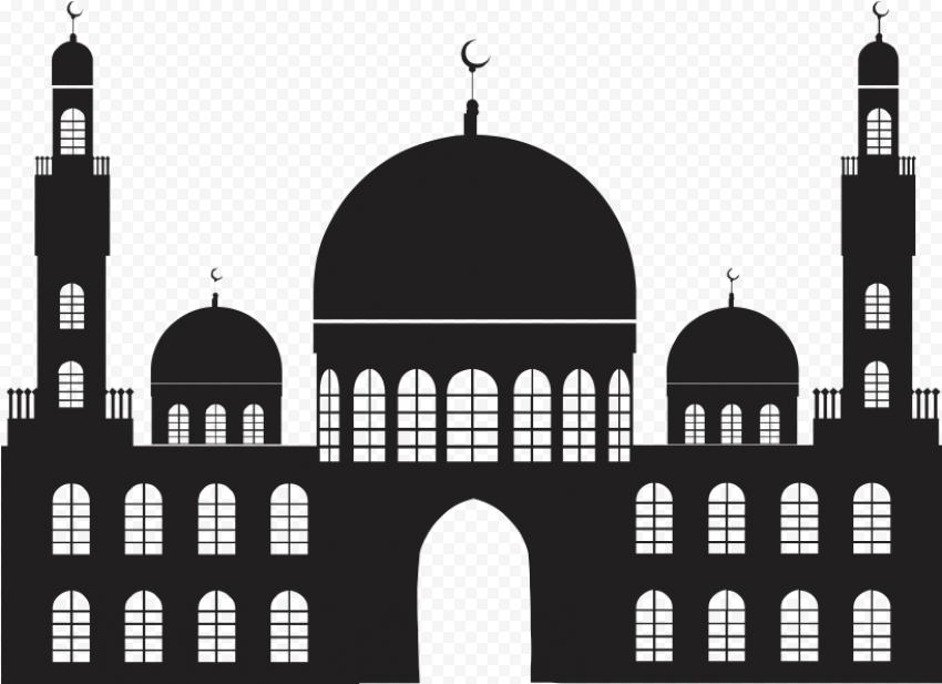 Vector Islamic Mosque Masjid Black Silhouette