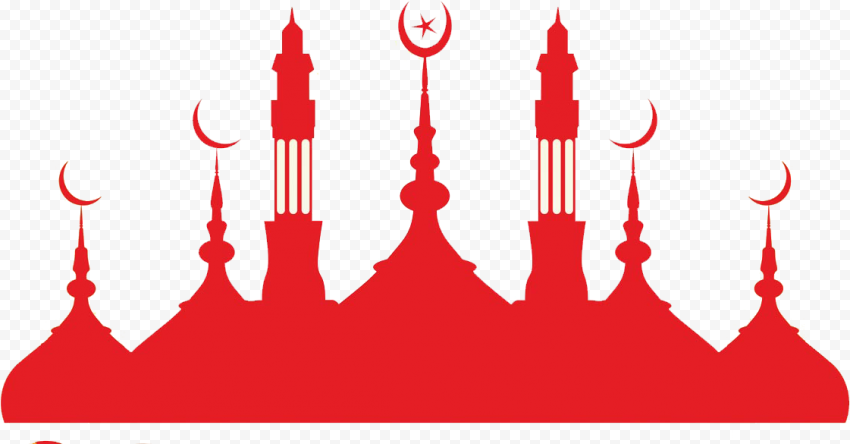 Islamic Red Silhouette Masjid Mosque Dome Vector