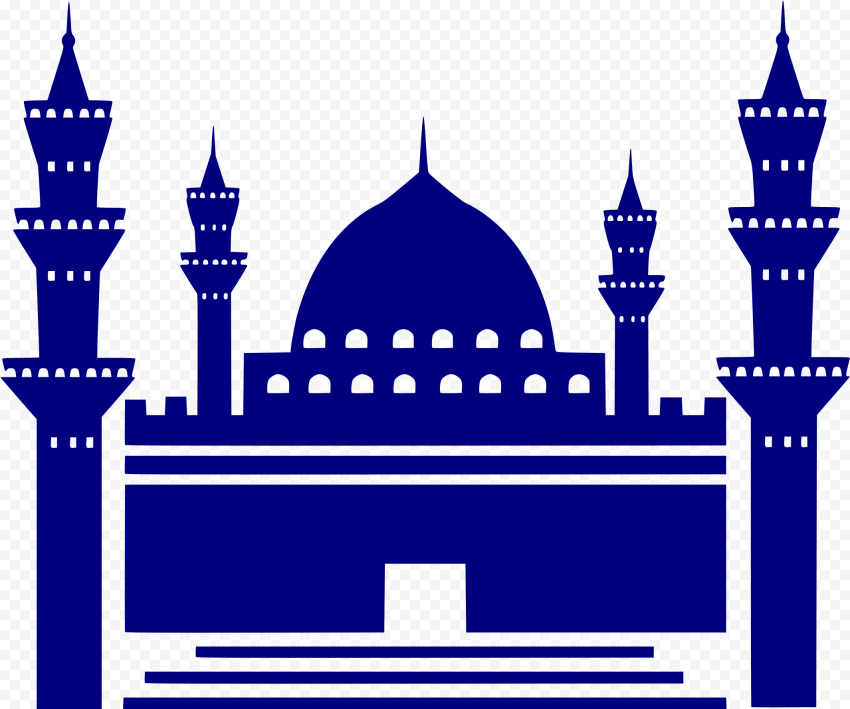 Islamic Blue Silhouette Masjid Mosque Vector