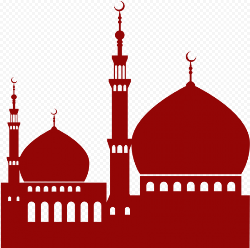 Islamic Red Silhouette Masjid Mosque Vector