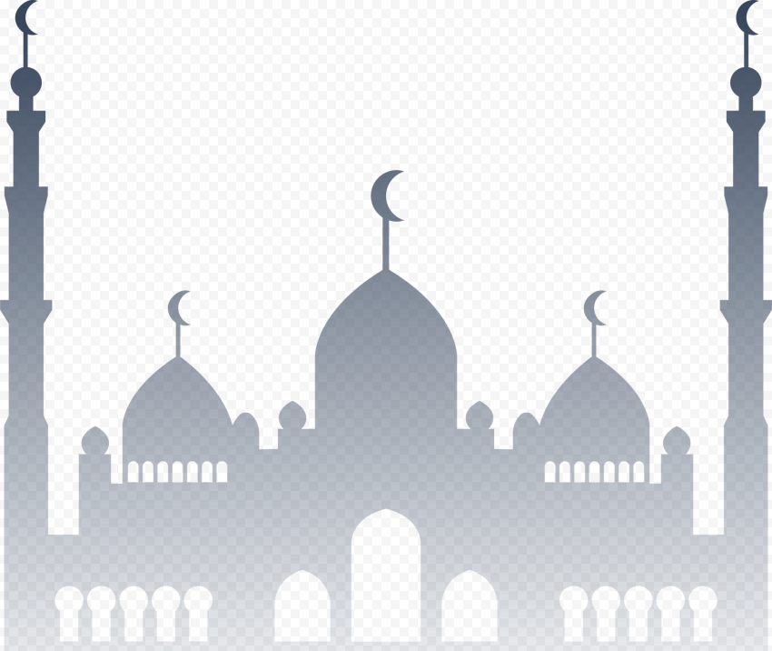 Islamic Gray Silhouette Masjid Mosque Vector