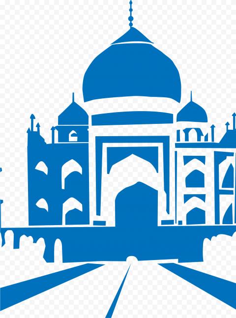Islamic Blue Silhouette Masjid Mosque Shape Vector