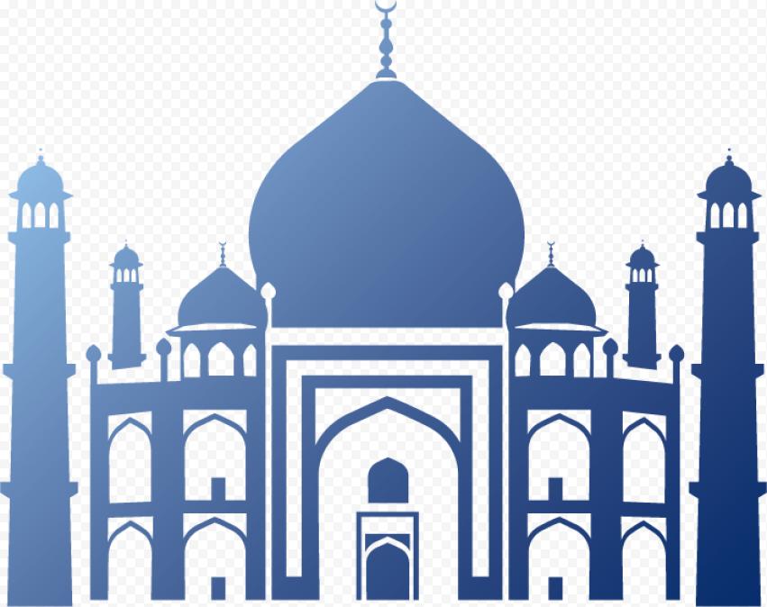 Islamic Arabic Blue Shape Of Masjid Mosque Vector