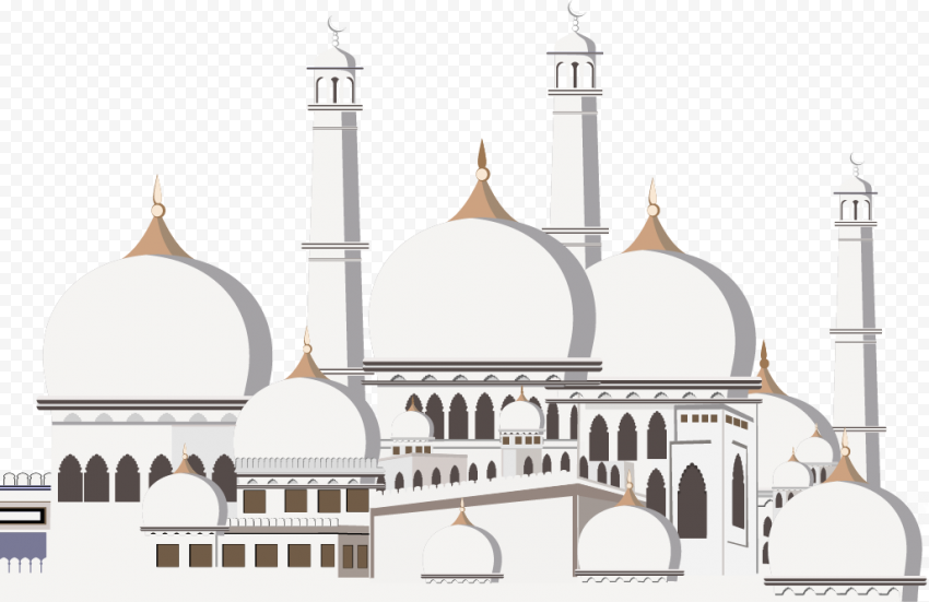 Ramadan Islamic Masjid Cartoon Illustration Vector