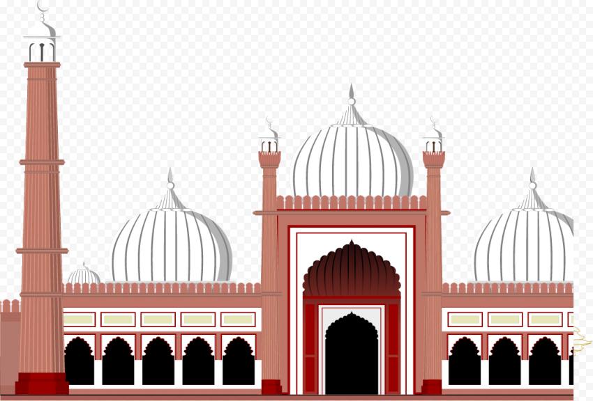 Eid Islam Masjid Mosque Cartoon Illustratio Vector