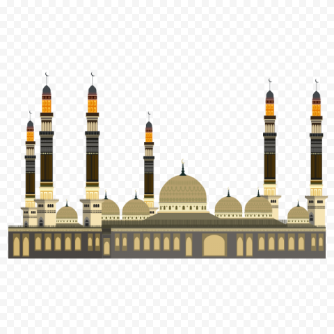 Muslim Arabic Mosque Masjid Vector Illustration