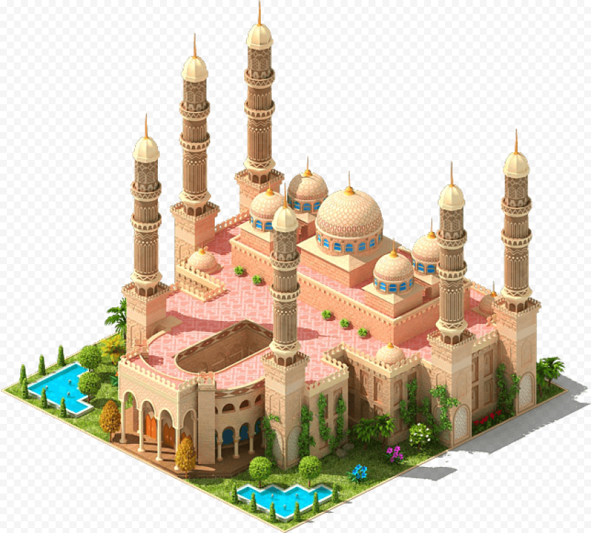 3D Mosque Isometric Arabic Illustration Icon