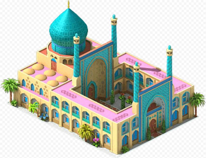 3D Masjid Isometric Arabic Illustration Icon