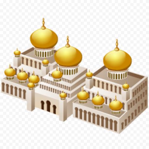 3D Masjid Isometric Icon Arabic Illustration
