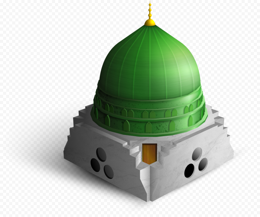 3D Isometric Cartoon Mosque Dome Illustration