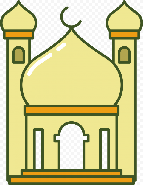 Yellow Cartoon Masjid Mosque Icon Illustration