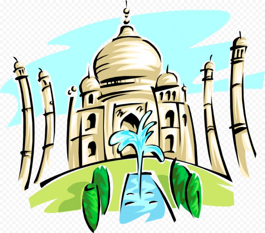 Cartoon Painting Taj Mahal Mosque India Icon