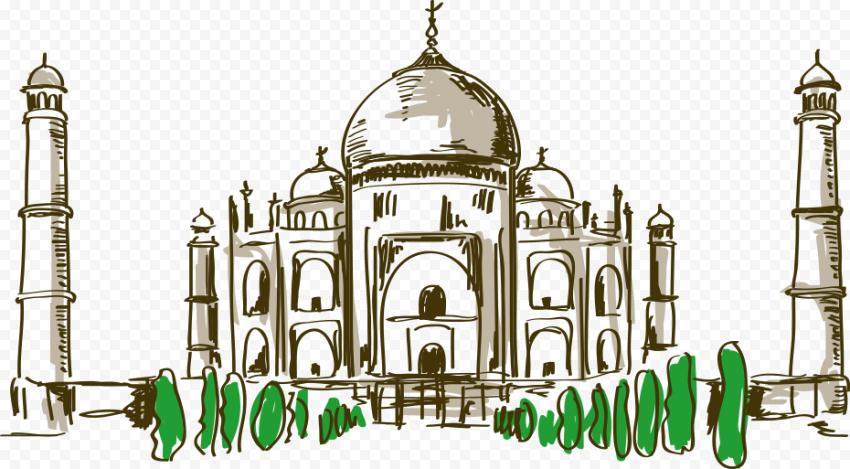 Taj Mahal Mosque Icon Drawing Sketch Cartoon