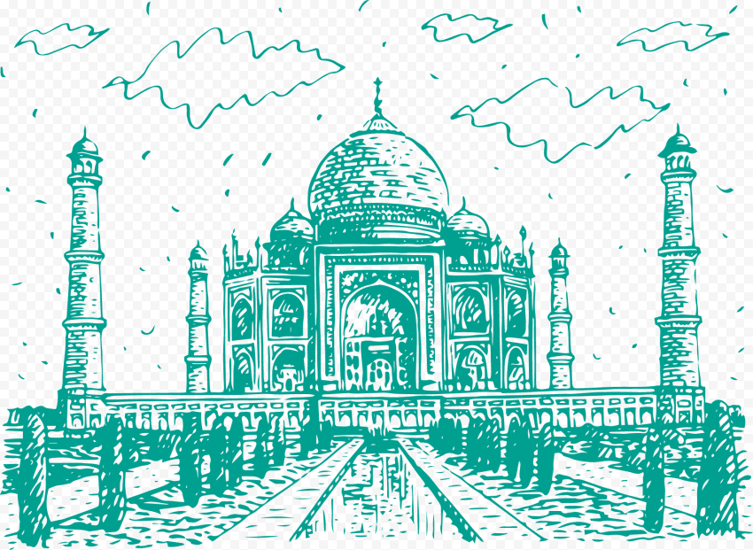 Drawing Sketch Taj Mahal Mosque India Masjid Shape