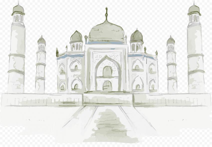 Drawing Digital Taj Mahal Shape Illustration Art