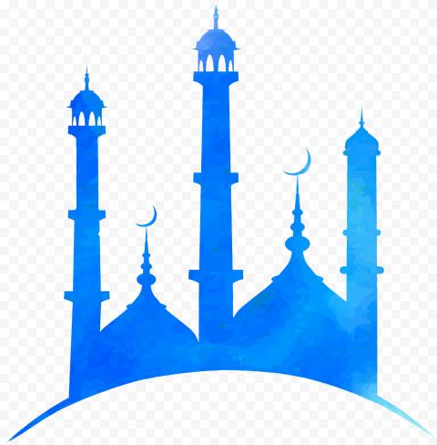 Mosque Blue Watercolor Shape Ramadan Illustration