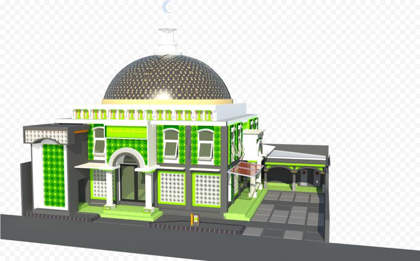 Green 3D Model Arabic Islamic Mosque Masjid