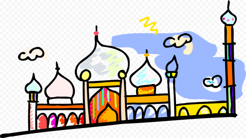 Drawing Painting Cartoon Mosque Masjid Artwork