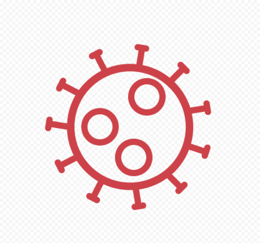 Covid Corona Red Outline Icon Symbol Sign